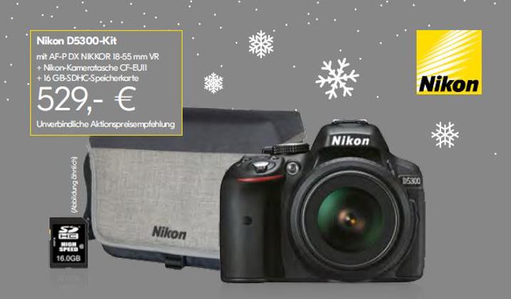 bcc404eac025b Nikon D5300 KIT AF-P DX VR 18-55 schwarz + Tasche + SDHC 16GB ...